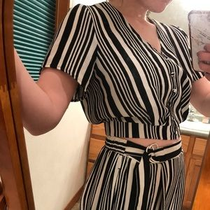 Striped Black and White Two-Piece Jumpsuit